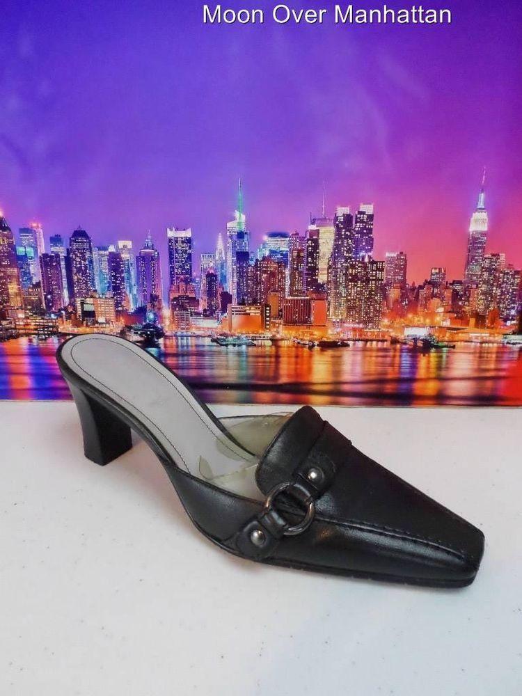 Etienne Aigner Husky black leather Classic Career Dress Mule Womens shoes sz 7 M #EtienneAigner #Mules