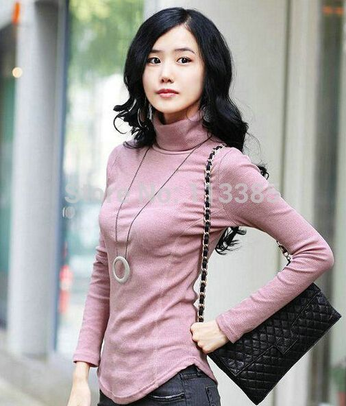 Find More T-Shirts Information about Free shipping 2014 New Autumn Multi solid colors stand collarlong sleeve T shirt  women's Basic T shirt 7 colors available,High Quality t-shirt heavy,China t-shirt ink Suppliers, Cheap t-shirt cat from Fashion Shopping station on Aliexpress.com
