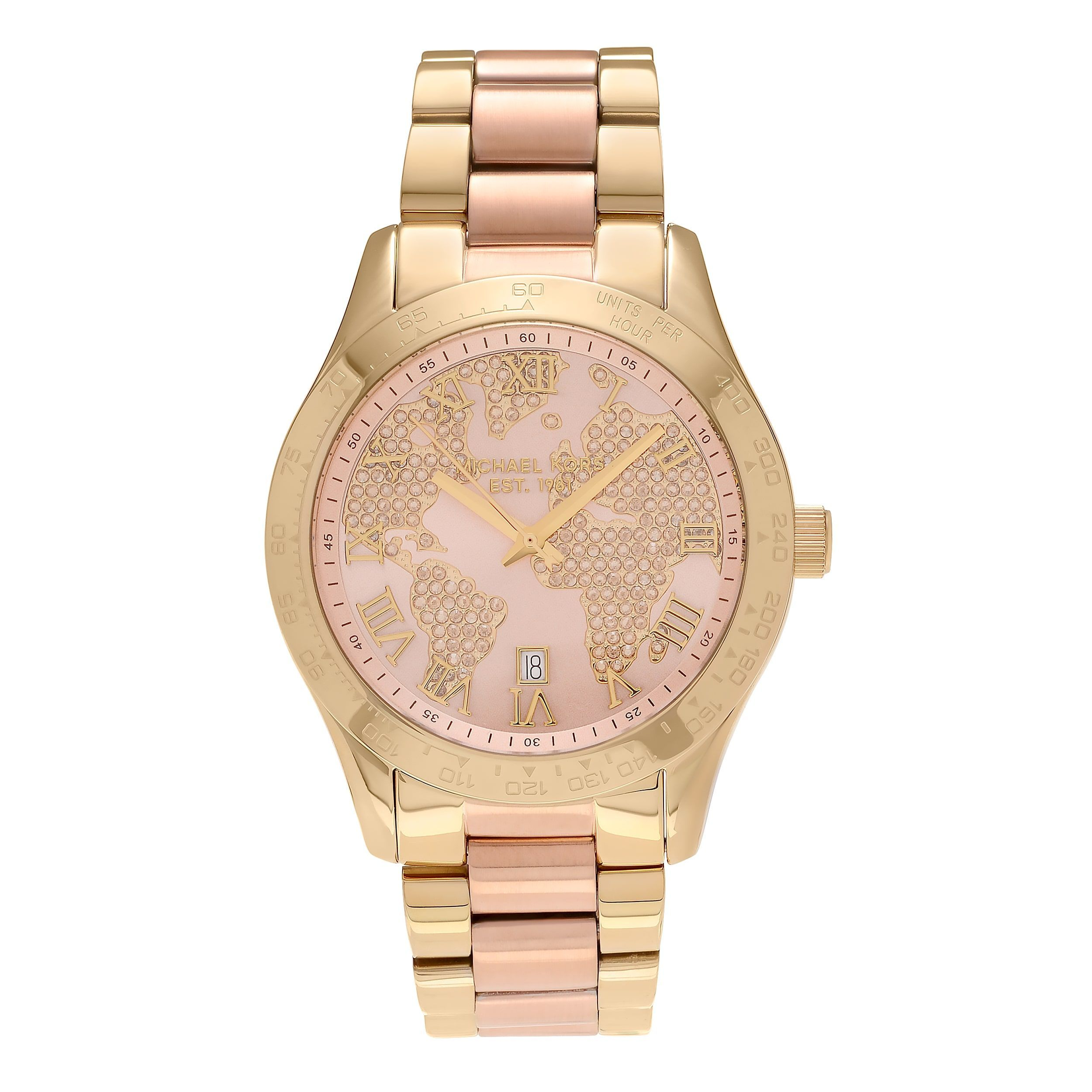 Michael kors womens mk6476 layton two tone world map dial link michael kors womens stainless steel layton world map dial link bracelet dress watch gold gumiabroncs Images