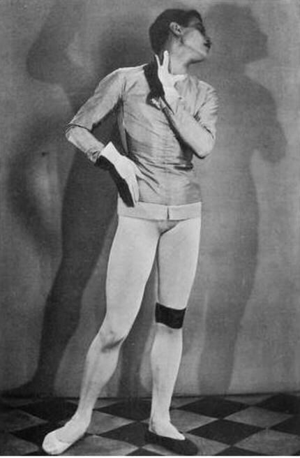 Man Ray, Serge Lifar in Romeo et Juliette, 1926. Costume design by Joan Miro