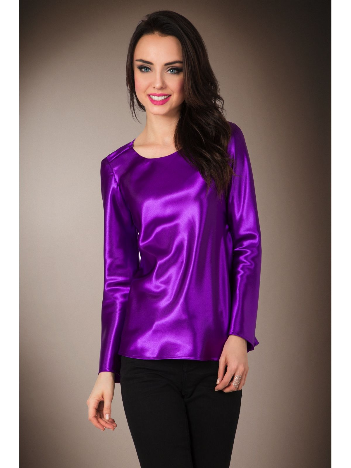 a49631690df1f2 Purple violet satin long-sleeved T-shirt blouse Blouse Sexy