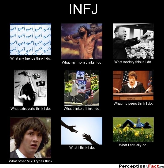 INFJ... - What people think I do, what I really do - Perception Vs Fact Hilarious -- can totally see/understand each one