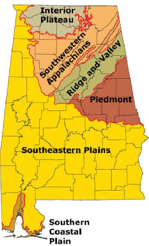 Physiographic Regions Of Alabama USAAlabama Pinterest - Us physiographic regions map