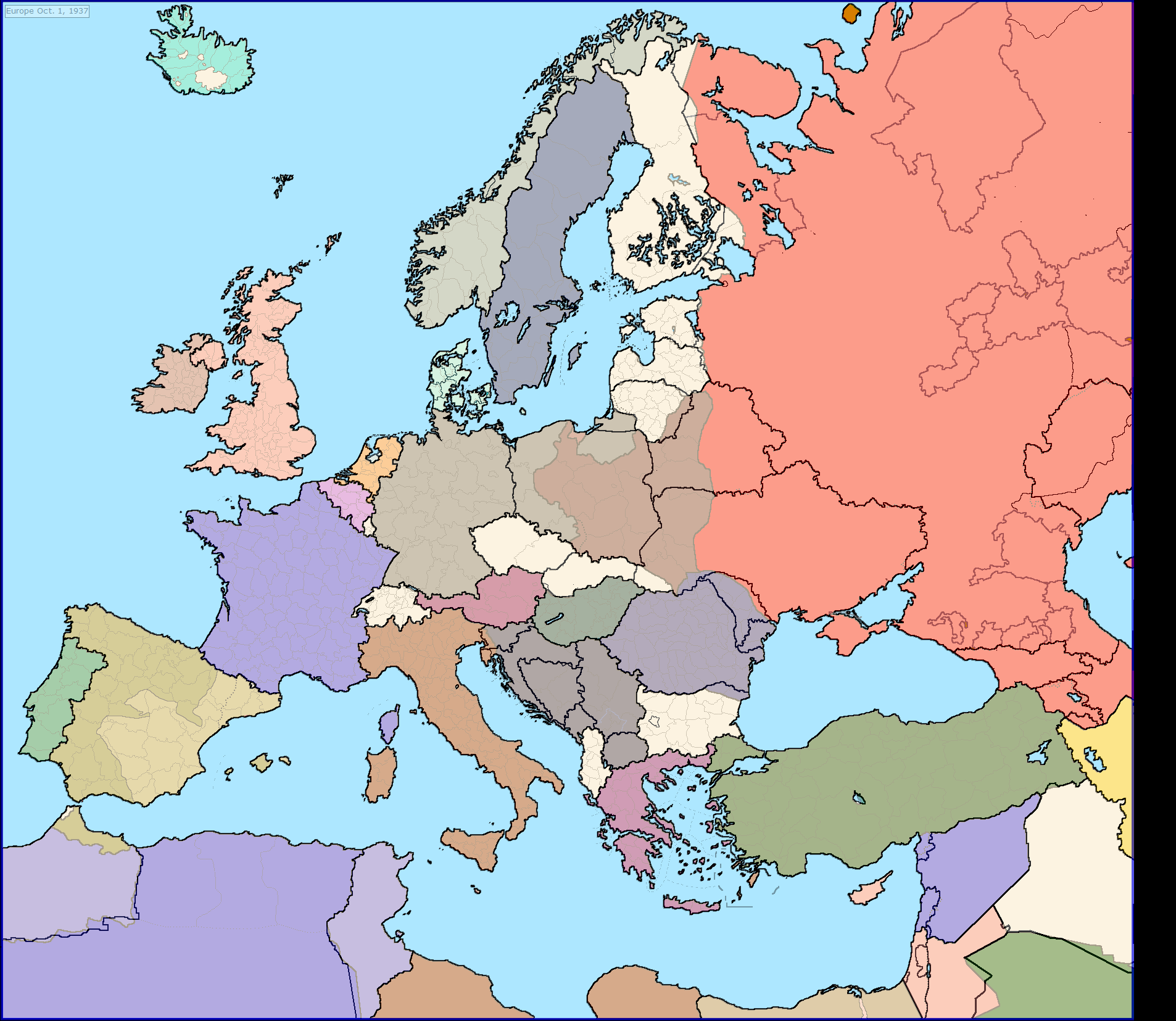 Present days borders over 1937s countries centered on Europe