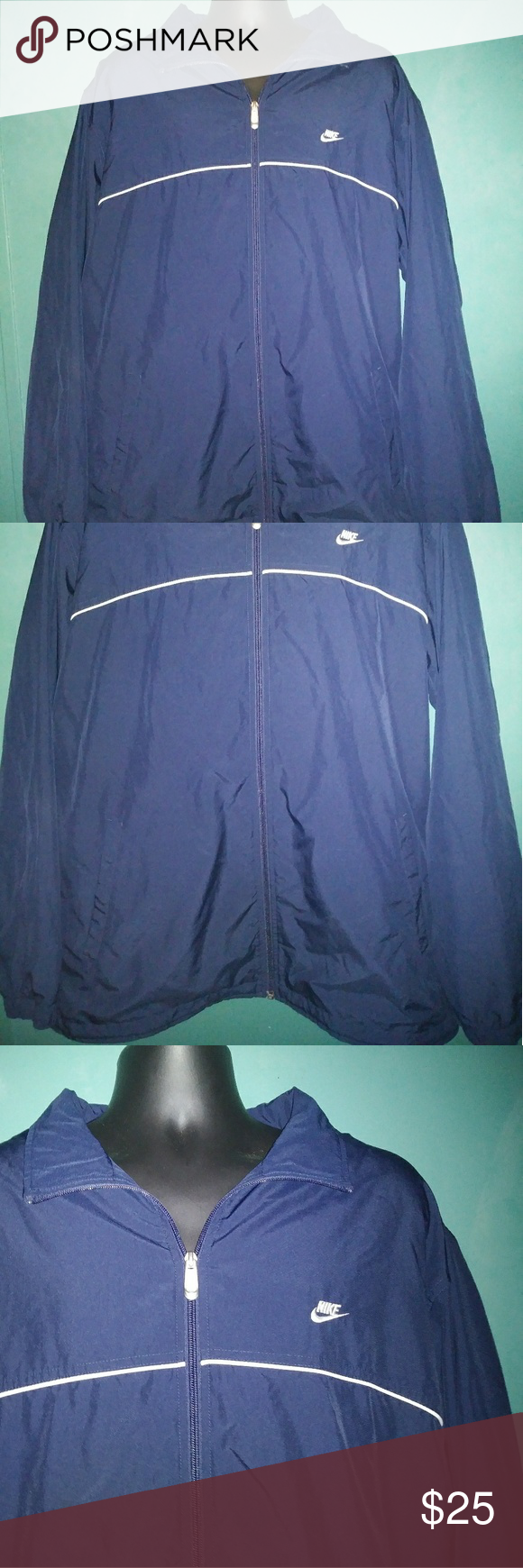 Navy Blue Nike Team Windbreaker Track Jacket Mens Gently worn only a few times. Men's Nike windbreaker. Size XXL.  Outter shell: 100% polyester Inner: 65% polyester, 35% cotton Sleeve lining: 100% nylon RN#56323 Offers welcome!  Gift wrapping available upon request free of charge. Nike Jackets & Coats Windbreakers