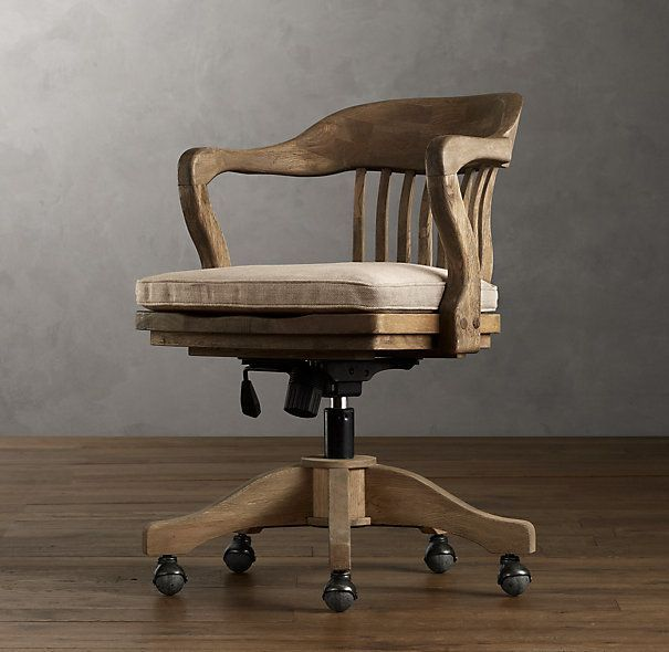 Fresh Fantastic 1940s Banker s Chair Weathered Oak Drifted Home fice Chair $495 ficeChair fice Chair Pinterest Top Search - Style Of office chair with wheels Trending