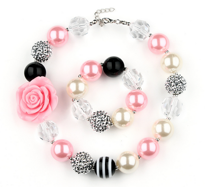 Ragazze bella rosa fiore collana robusta perline bracciali bambini fancy dress ourfit insieme dei monili festa di compleanno migliore GiftWXS2
