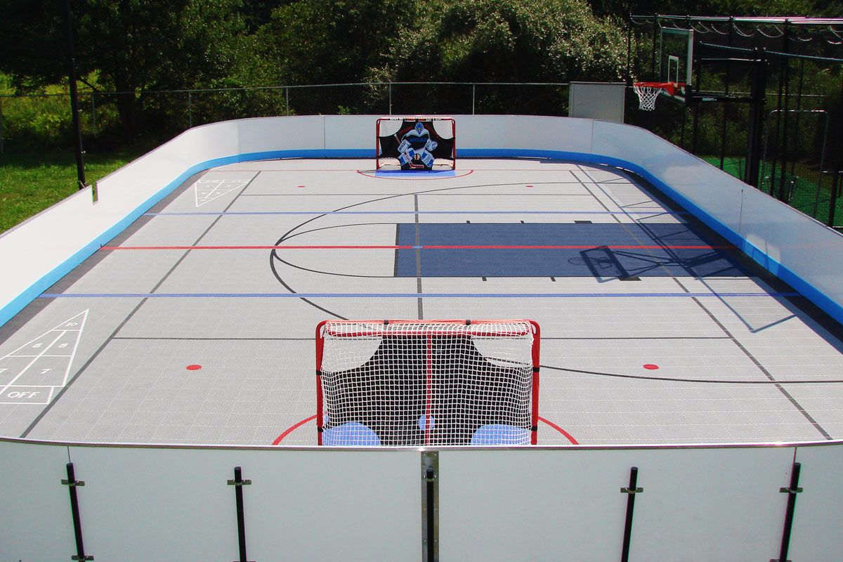 Superb Outdoor Bounce Back® On An Home Inline Hockey Rink And Multi Court. Images