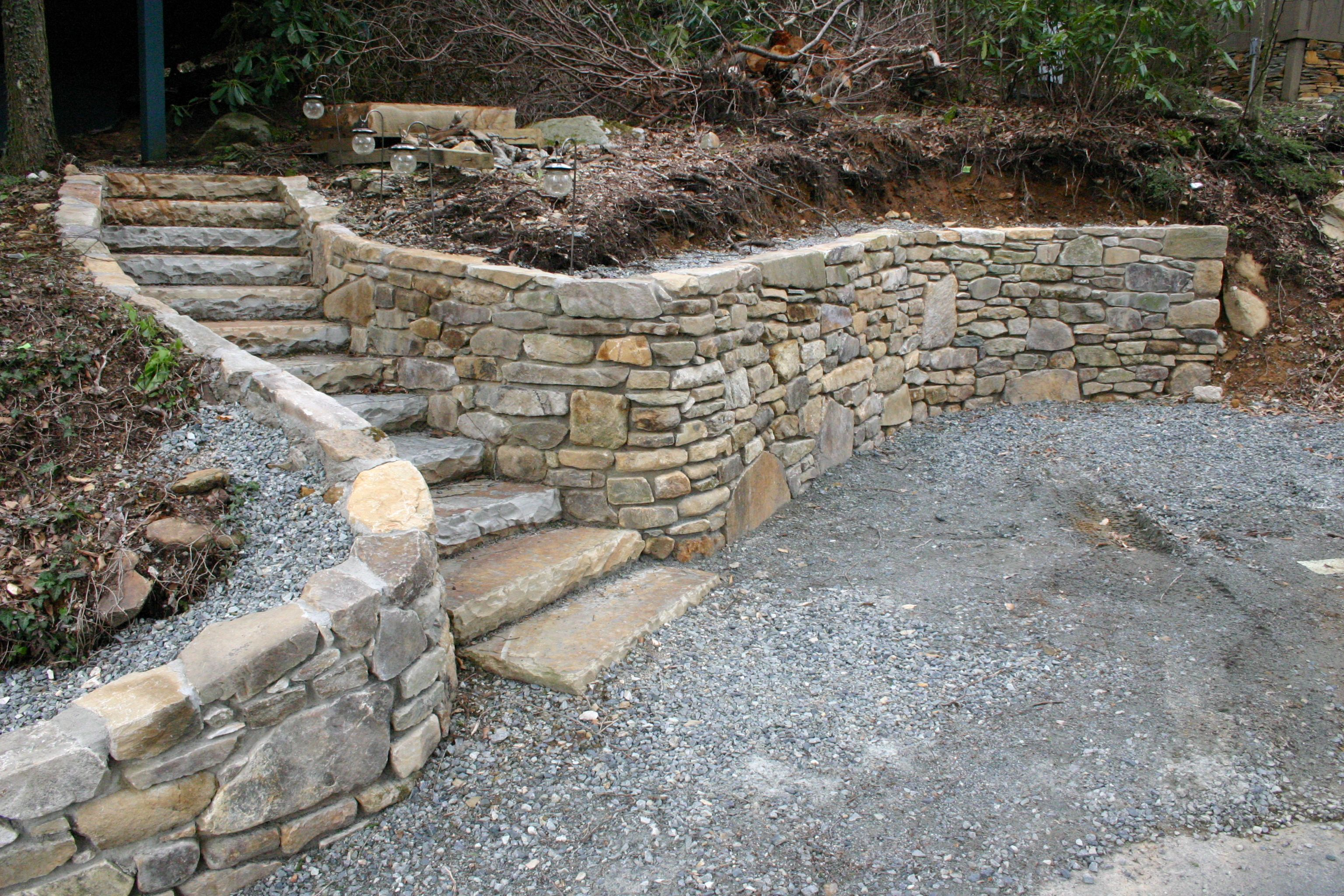 stone retaining wall and steps Google Search