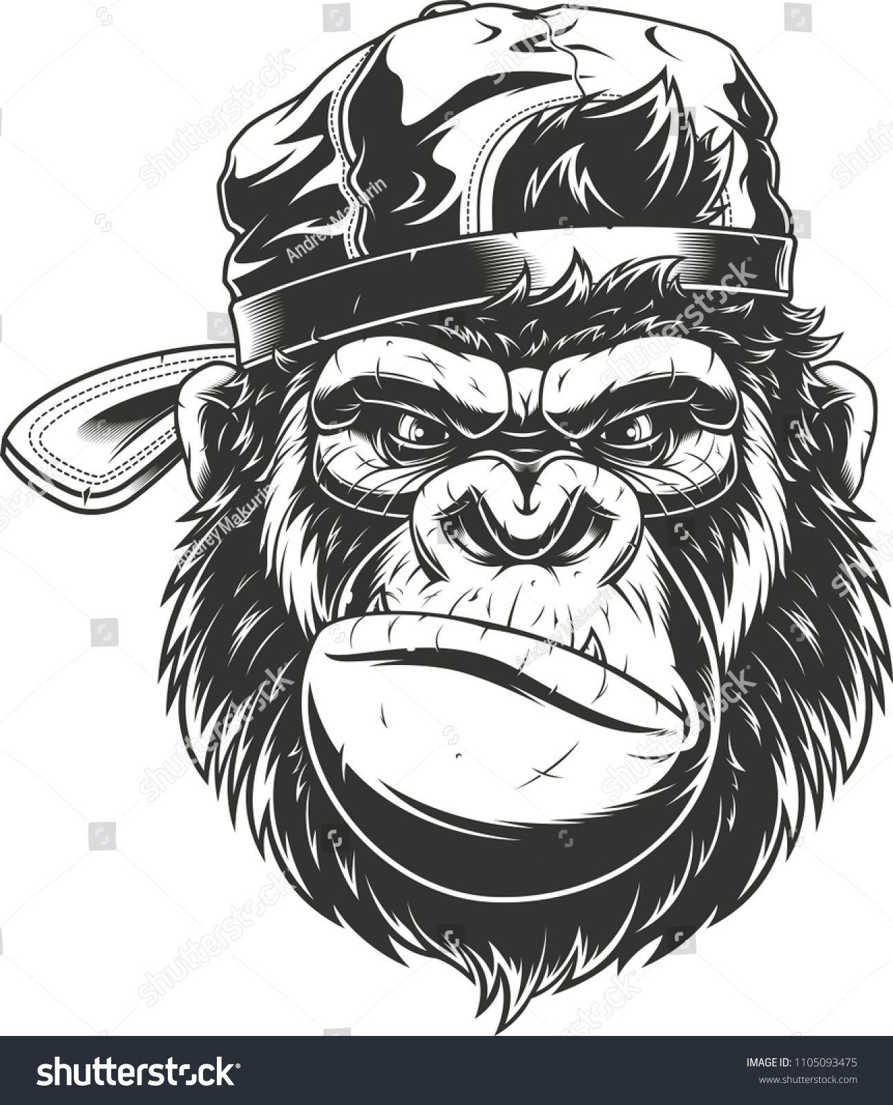 Vector Illustration Of A Funny Gorilla Head In Baseball Cap Isolated Image On A White Backgroundgorilla Head Funny Vector Monkey Art Gorillas Art Art