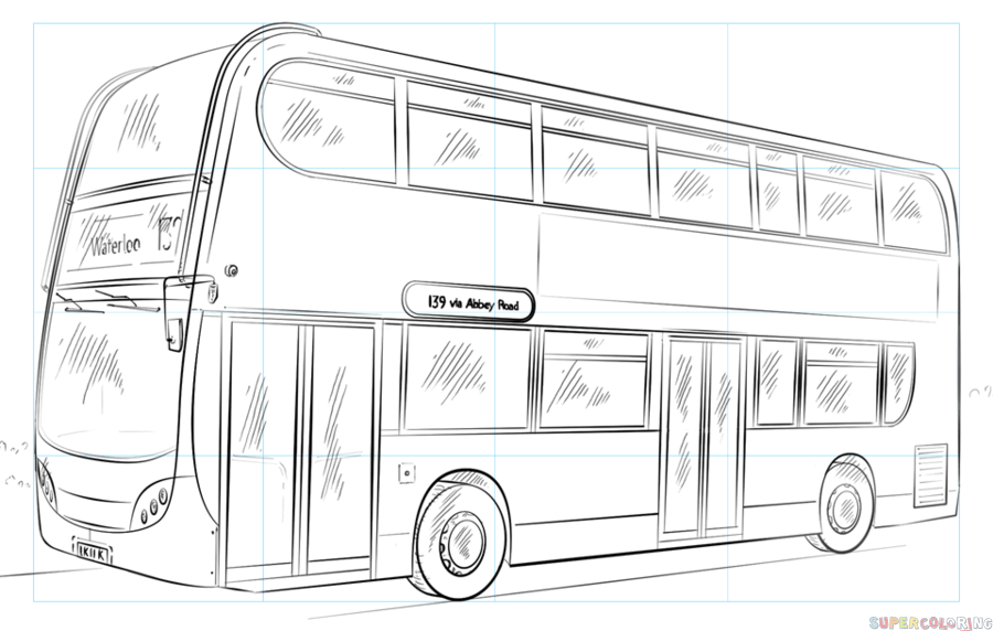 How To Draw A Double Decker Bus Step By Step Drawing Tutorials Bus Drawing Double Decker Bus Drawing Tutorial