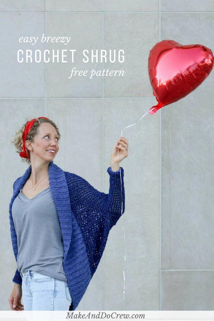 Lightweight + Easy Crochet Shrug – Free Pattern | Pinterest | Lion ...