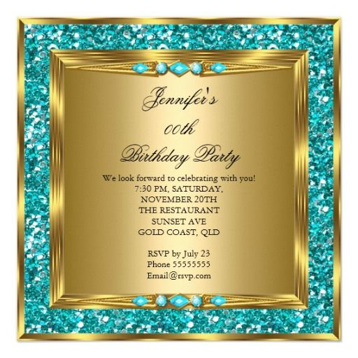 Elegant Gold Teal Blue Faux Glitter Birthday Party Birthday Invitations by Zizzago.com