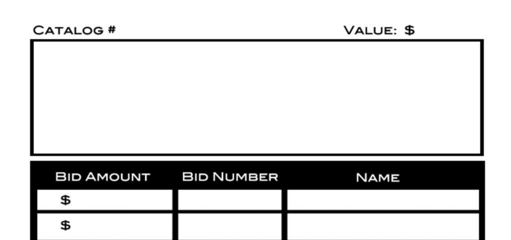 silent auction bid sheet form