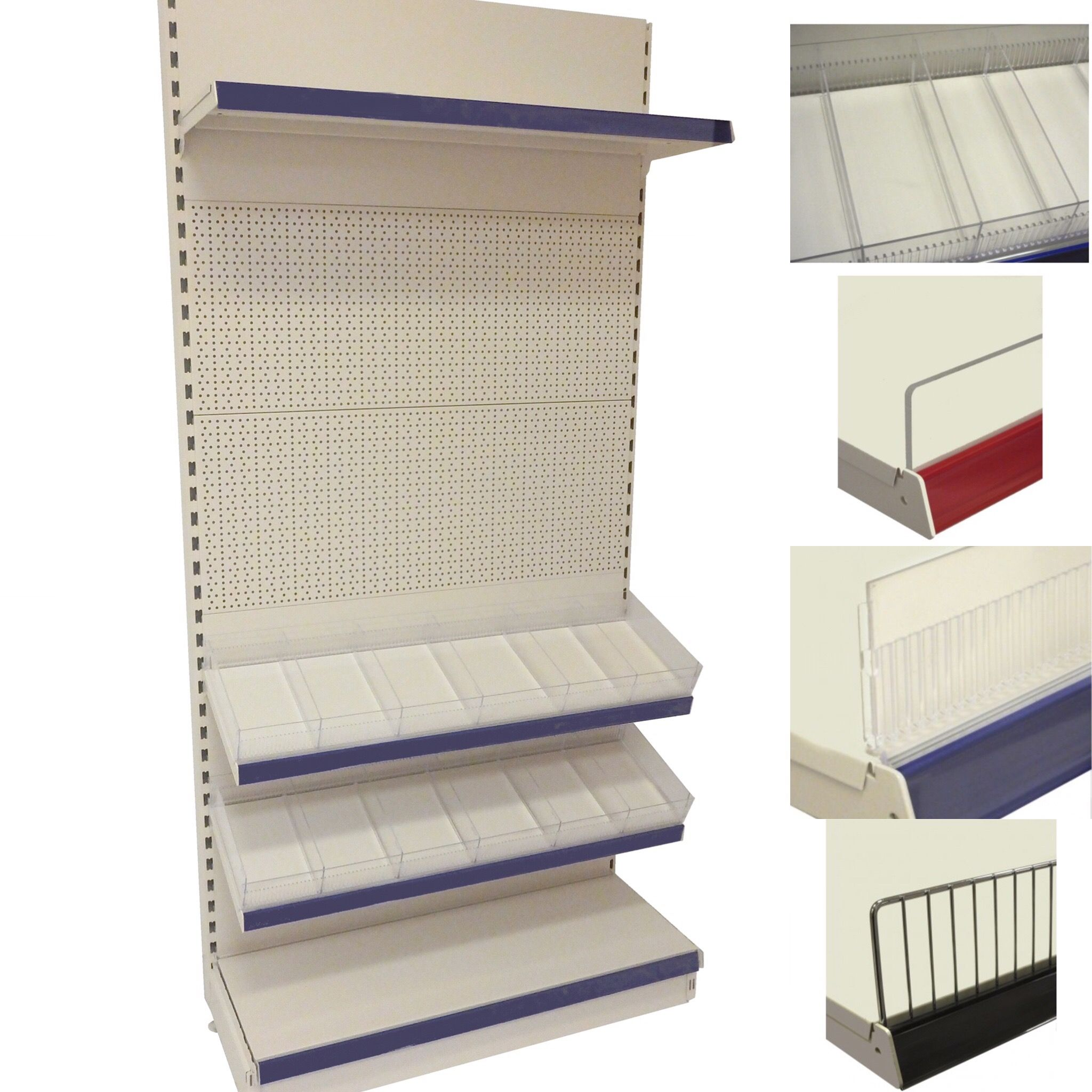 Freestanding Wall Shelving Unit With Easy Clip On Shelf Risers