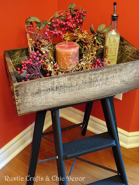 Step Ladder Makeover Old Crate Fun Tray Table Diy Rustic Decor Rustic Crafts Diy Home Crafts