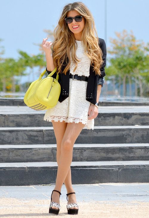 White Lace Mini Dress with Black Belt, Blazer & Platform Sandals ...