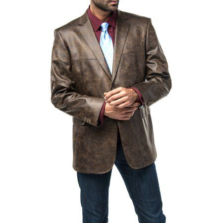 Verno Men's Dark Brown Faux Leather Classic Fit Sports Coat, Size: 34S