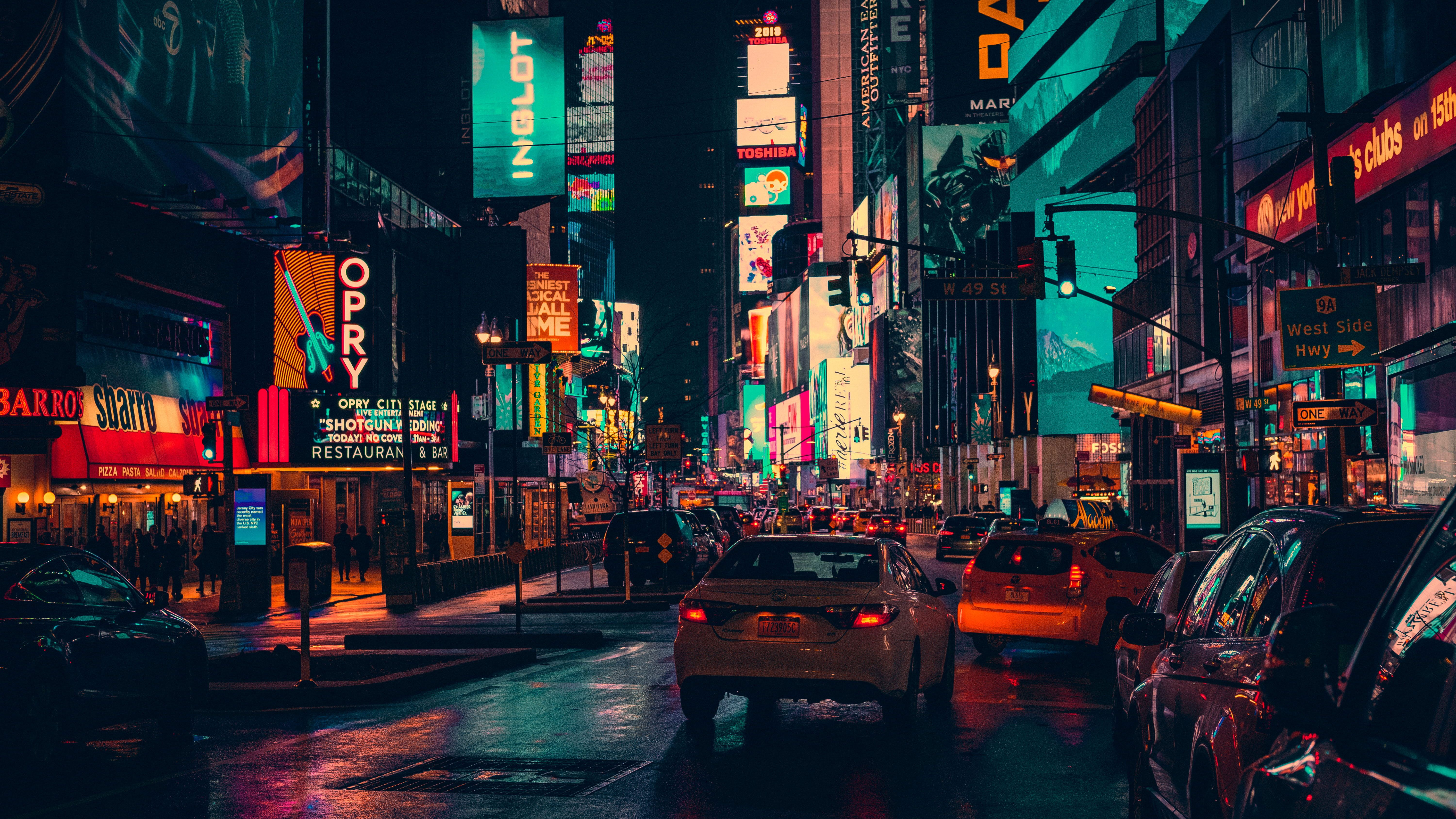 Cars On Road Surrounded By Building During Nighttime Town City Wallpaper In 2021 City Wallpaper Reflection Photos Neon Wallpaper