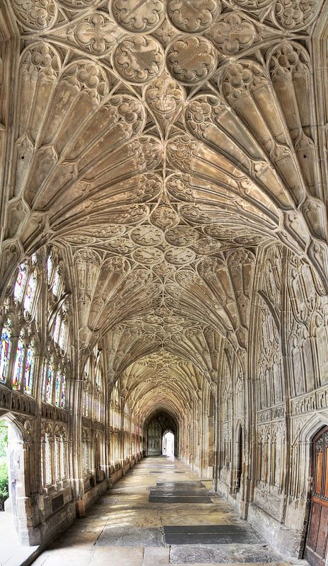 In the cloister of Gloucester Cathedral