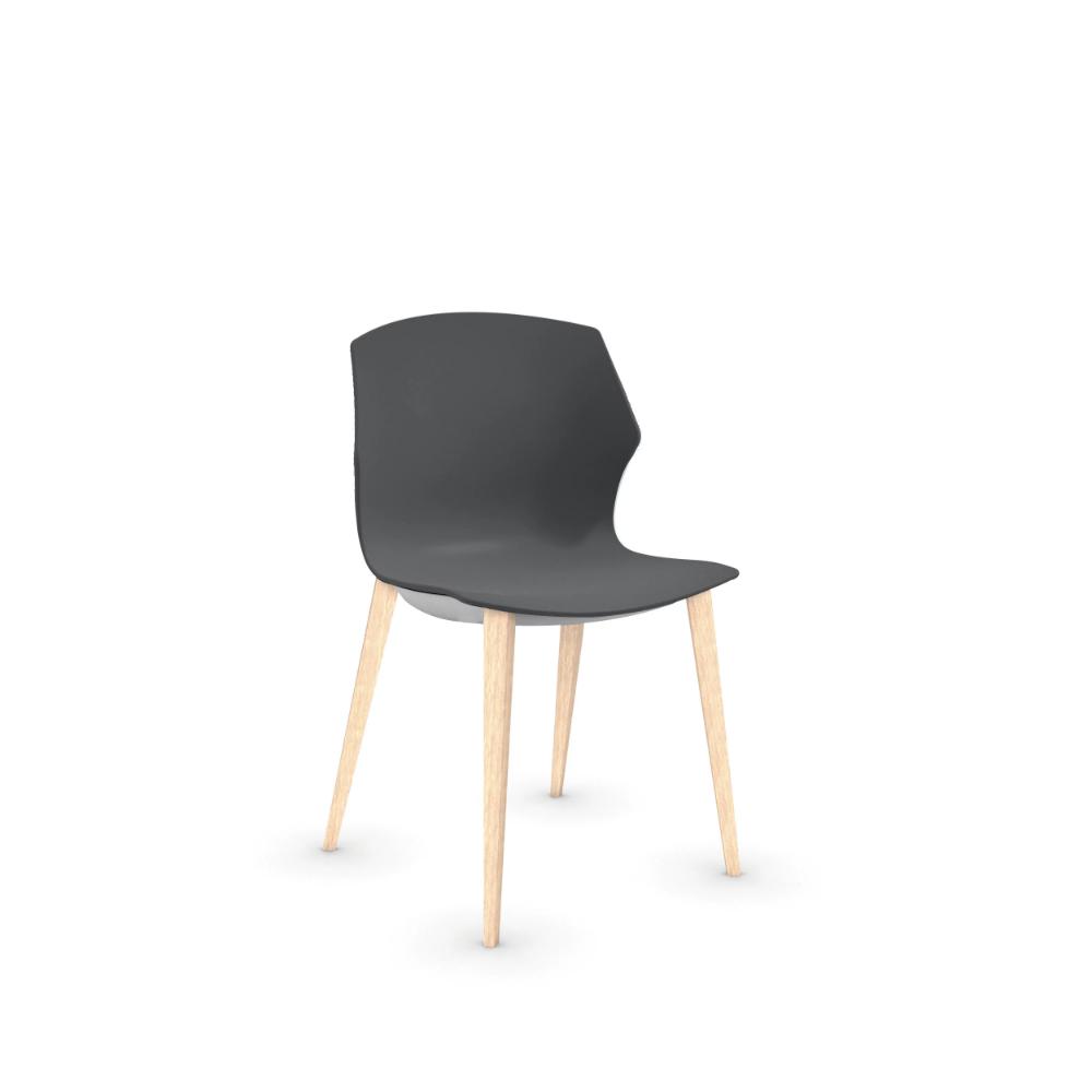 Piétement bois frêne blanchi 4 pieds. Chaise polypropylène