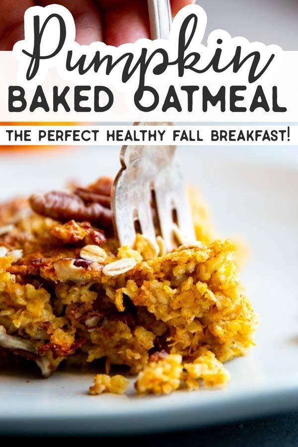 This Pumpkin Baked Oatmeal is an easy make ahead breakfast for chilly fall mornings! Serve with maple syrup and Greek yogurt for a healthy and balanced breakfast.  Using pumpkin in breakfasts is a great way to add nutrients and fiber – and it's a fun seasonal twist, too!  