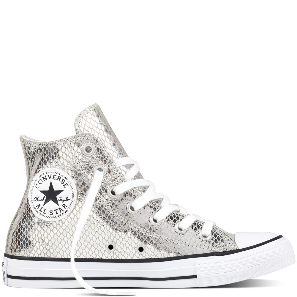 low priced 70dbb bc29a Chuck Taylor All Star Metallic Scaled Leather Silver Black White  silver black white