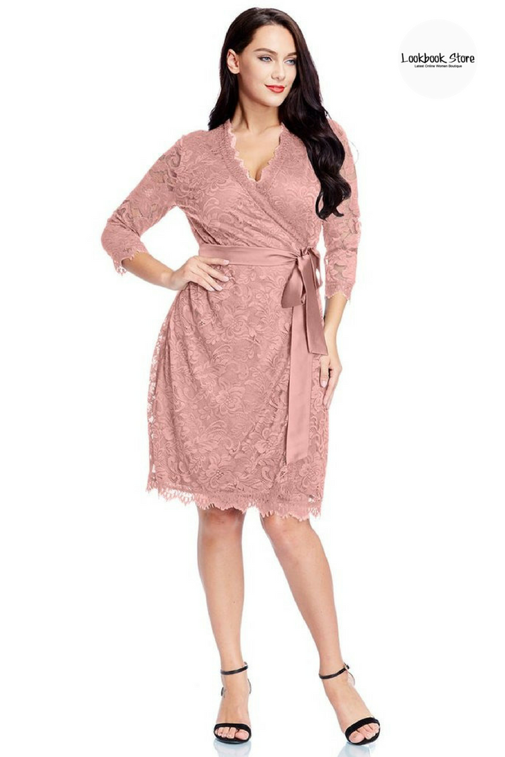 61107471f80 Most Wanted    Dress this plus size dusty rose lace crop sleeves wrap dress  with your high heels and simple make up and you will definitely be the  party s ...