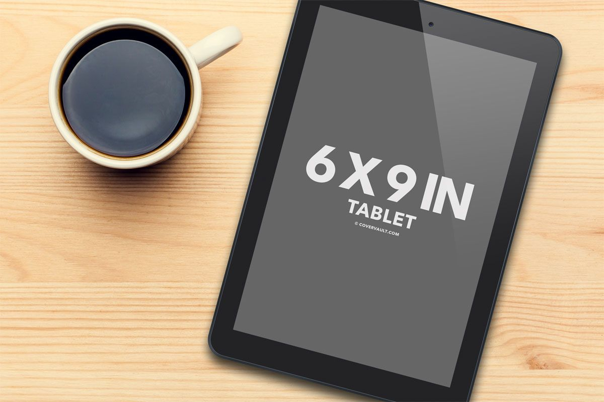 ereader tablet ipad template mockup coffee cup wood table ... 3d Paperback Book Cover Template
