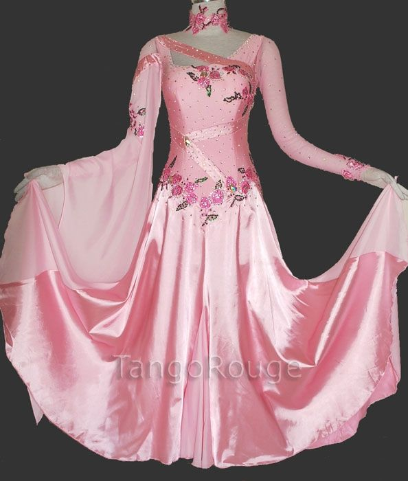 f3e88a94922f Ballroom Dance Waltz Dresses | Dusty Rose Satin Waltz Smooth Dance Dress -  TangoRouge Dancewear .