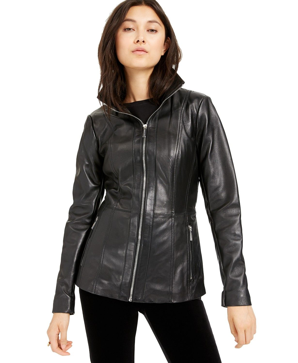 Michael Kors Leather ZipFront Jacket, Created for Macy's