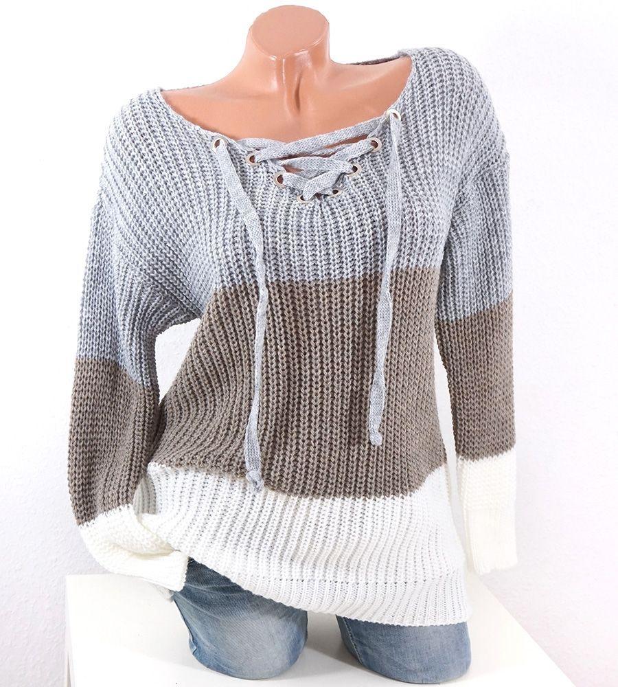 san francisco b8fc2 4b511 Damen Pullover mit Schnürung und V-NECK grau taupe weiß ...