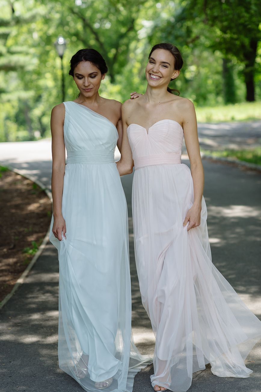 Amsale Bridesmaids Tulle Dresses - Left G948U in Mint. Right: G945U ...