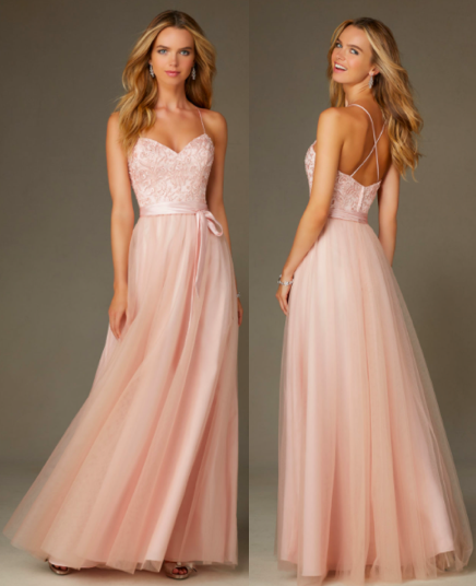 Ballerina Style Long Morilee Bridesmaid Dress in Tulle Blush Pink with  Embroidery 20a5a6e1d1b7