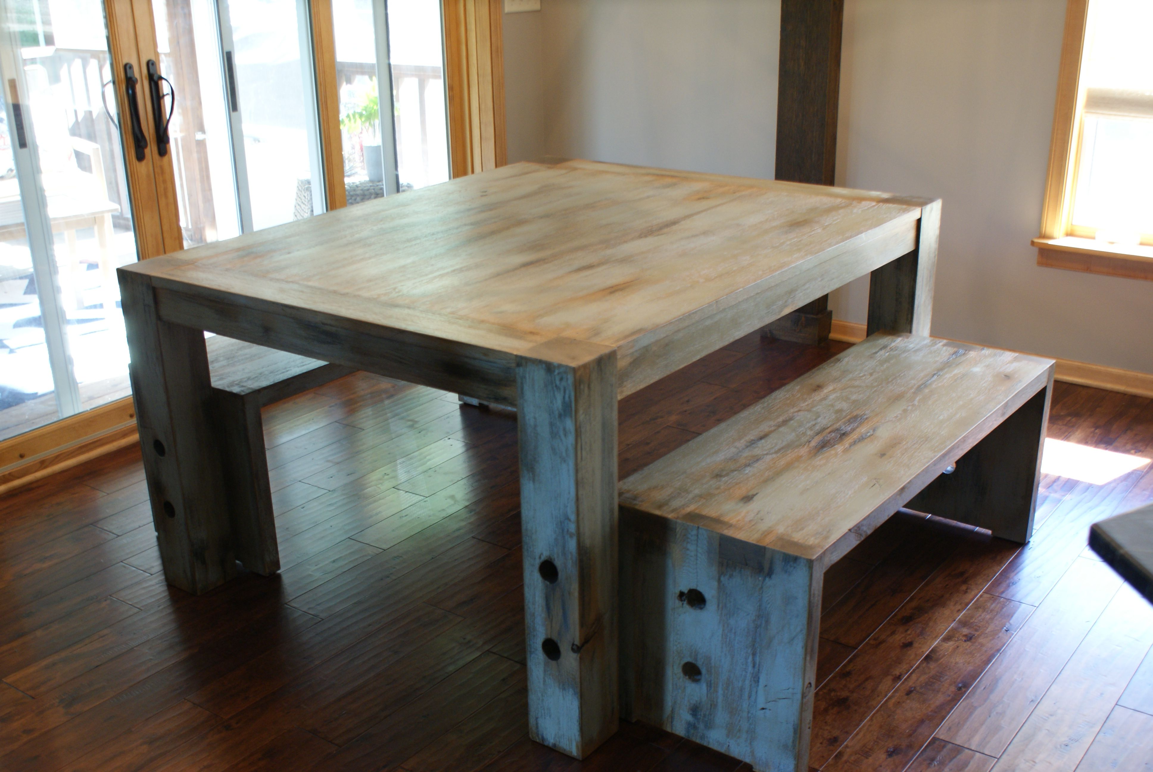 White Oak Parsons Table Made From 300 Year Old Reclaimed Wood From The Globe Grain Elevator Built Wood Dining