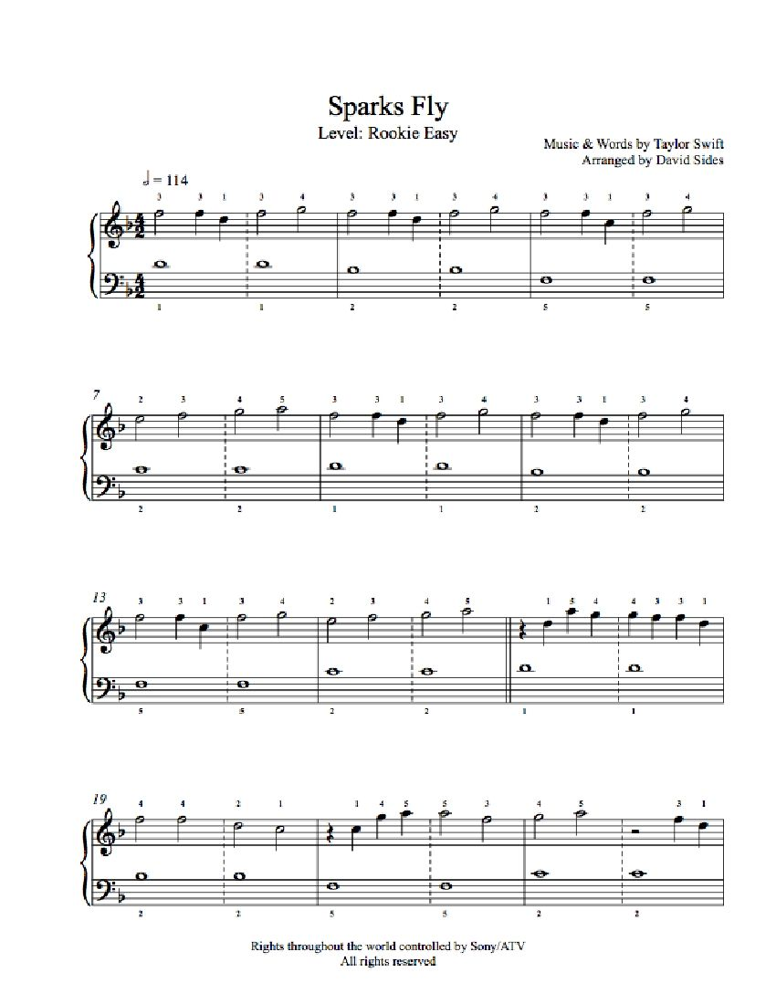 Sparks fly by taylor swift piano sheet music rookie level sparks fly by taylor swift piano sheet music rookie level hexwebz Choice Image