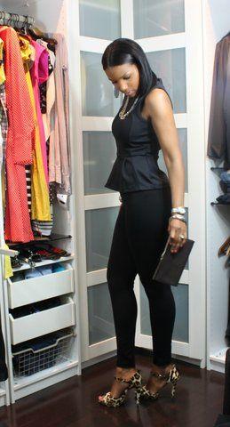 black peplum top and leopard heels