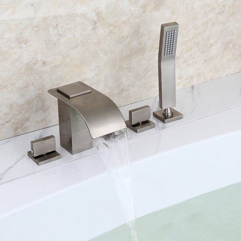 Milly Brushed Nickel Widespread Waterfall Roman Tub Filler