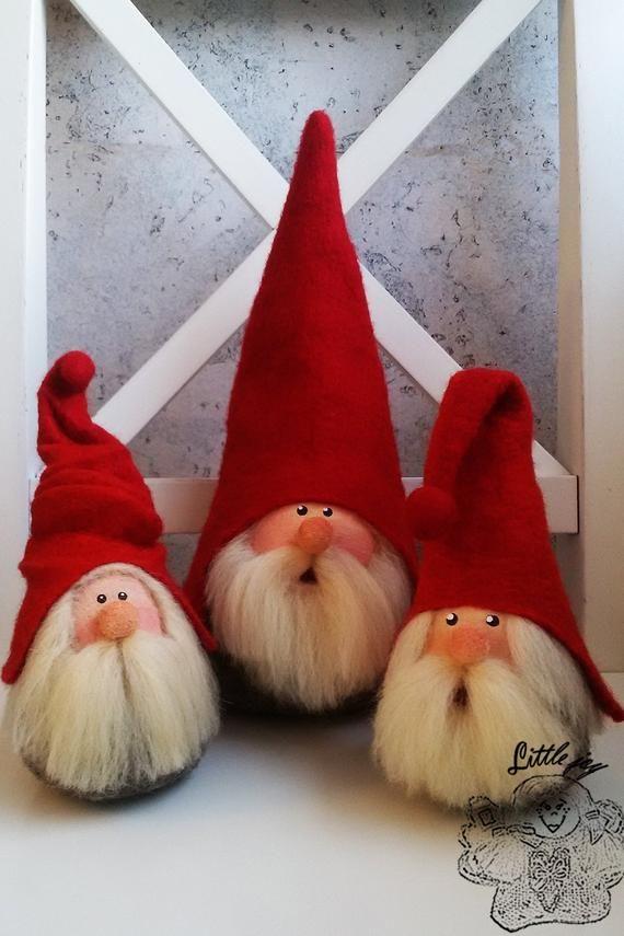 Set three Gnomes Interior toy. Christmas decoratio