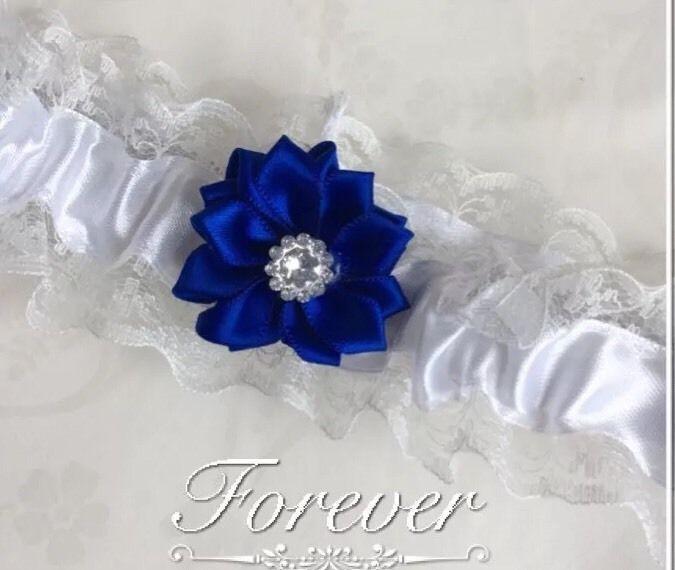 Blue Wedding Garter Uk: ️wedding Garter White Lace/ribbon Something Blue Flower