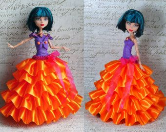 Monster High Clothes Hand Made Dress Monster High Clothes Jewelry Set Ball Gown For Monster Doll Black Orange Monster High Clothes Dress Making High Dresses