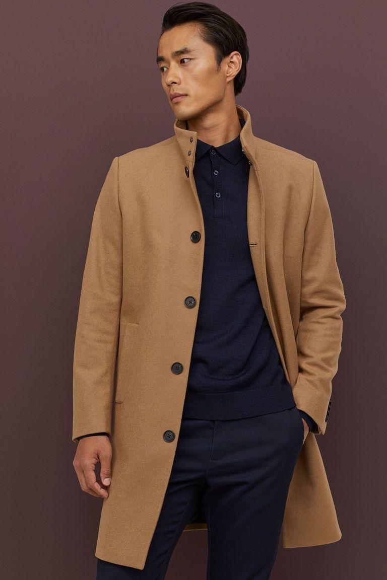 Cashmere Blend Coat Dark Beige Men H M Us Mens Casual Outfits Mens Jackets Casual Coat [ 1152 x 768 Pixel ]