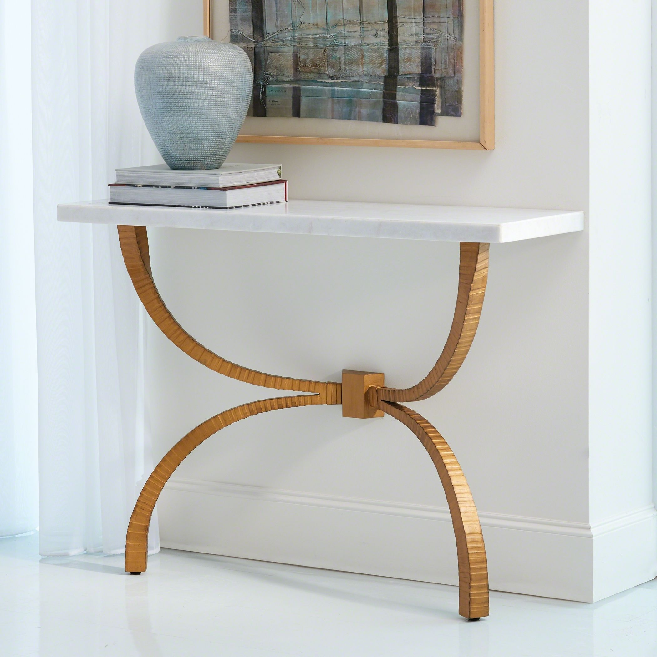 Liesl Console Table Marble And Bronze Marble Top Console Table Marble Tables Living Room Marble Tables Design