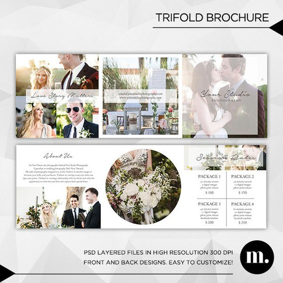 5x5 Trifold Brochure Template With About Me And Session Rates Etsy In 2021 Trifold Brochure Template Trifold Brochure Brochure Template