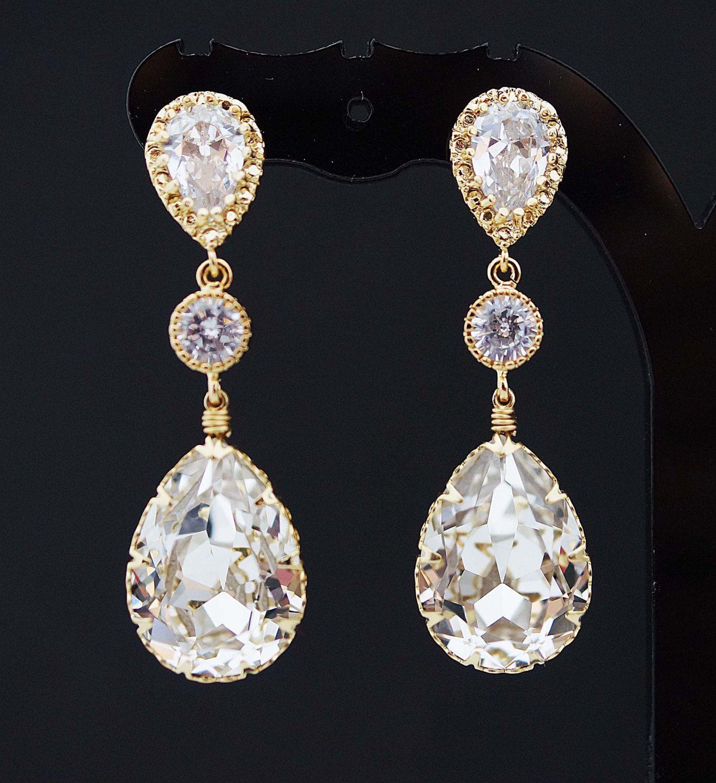 Beautiful Oval Faceted Crystal Dangle Drop Earrings Bridal Prom Wedding Vintage