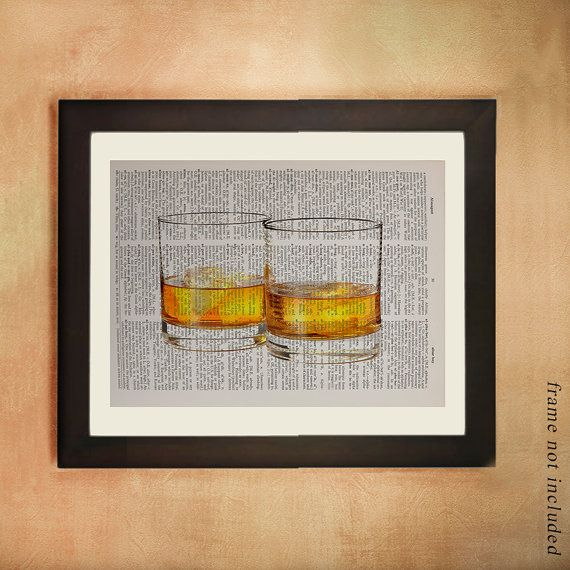 Whiskey Art Bourbon Dictionary Art Print, Whiskey Print Bourbon