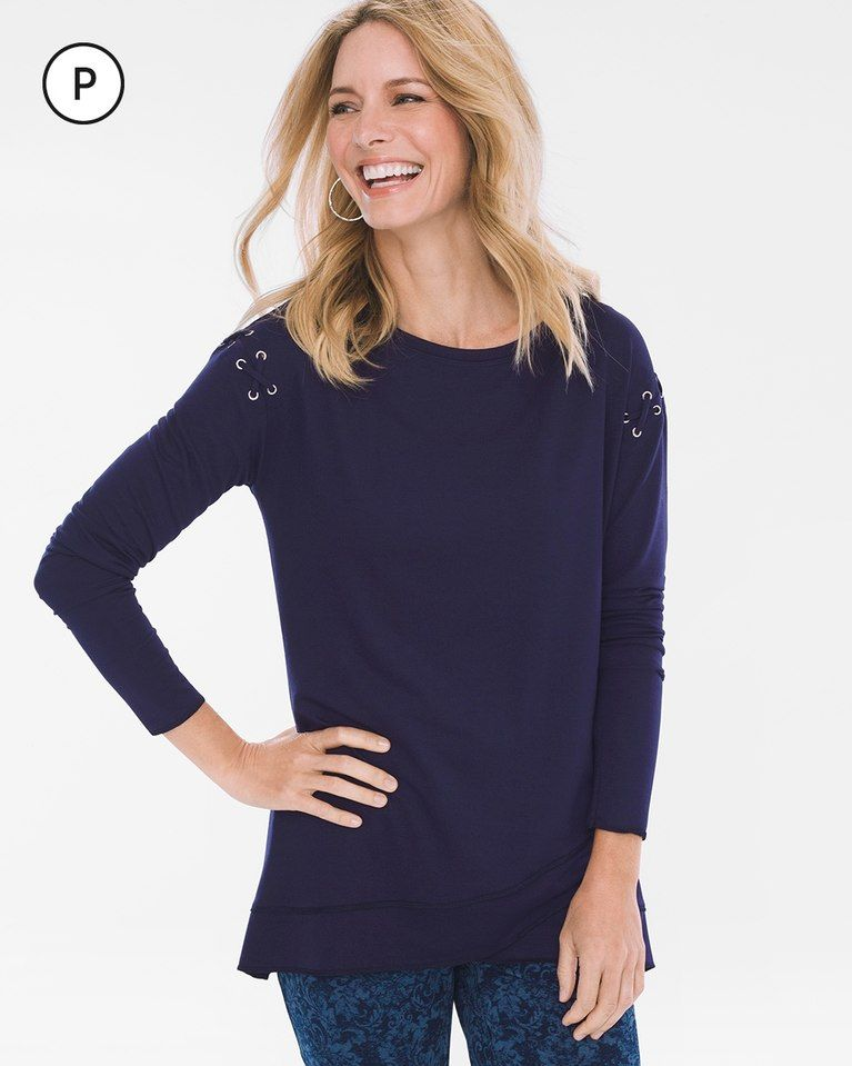 95a799d1837 Petite Lace-Up Shoulder Tunic | Products | Tunic, Tunic tops, Lace up