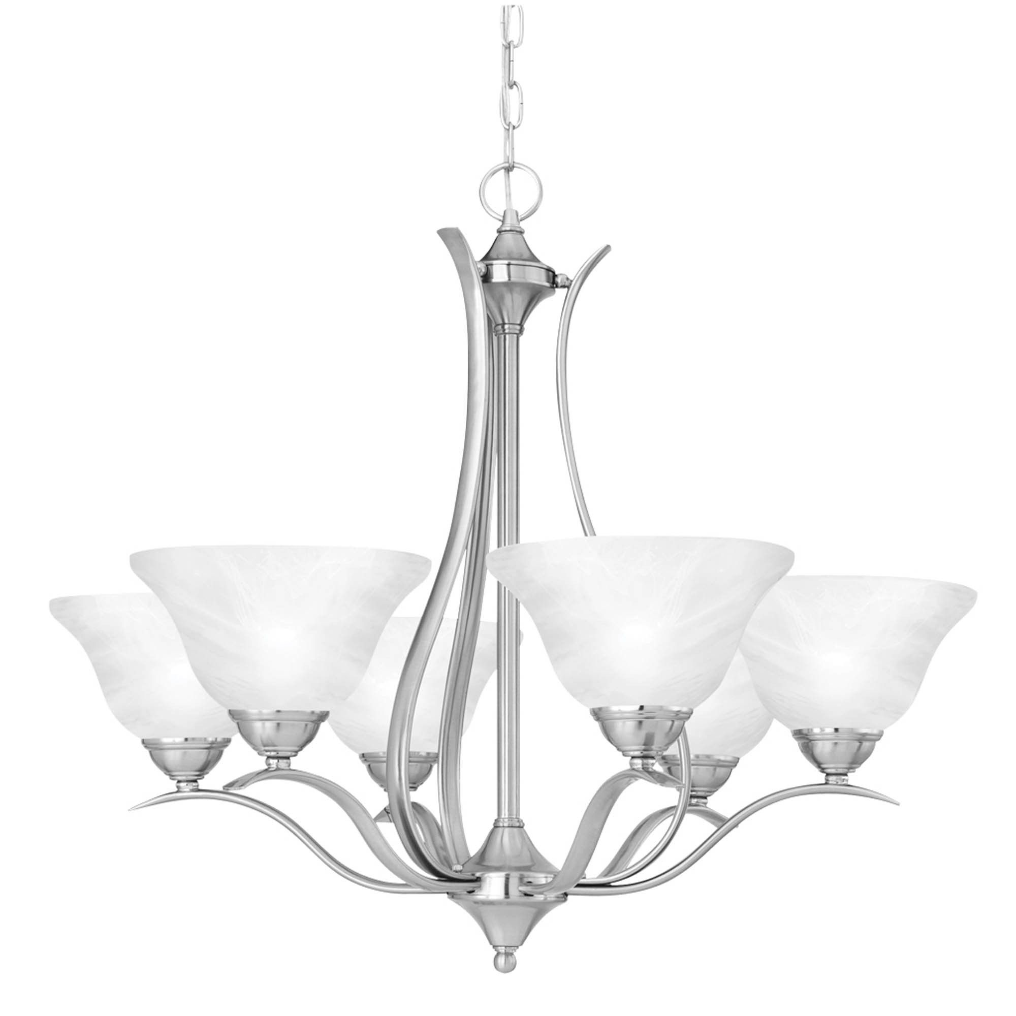 Prestige 6 light chandelier in brushed nickel finish chandeliers this beautiful prestige chandelier brushed nickel by elk lighting group is the perfect addition to brighten up your home material metalglass finish arubaitofo Choice Image