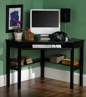 6 Best Pieces Of Office Furniture For Small Spaces Overstock Com Black Corner Desk Black Corner Computer Desk Desks For Small Spaces