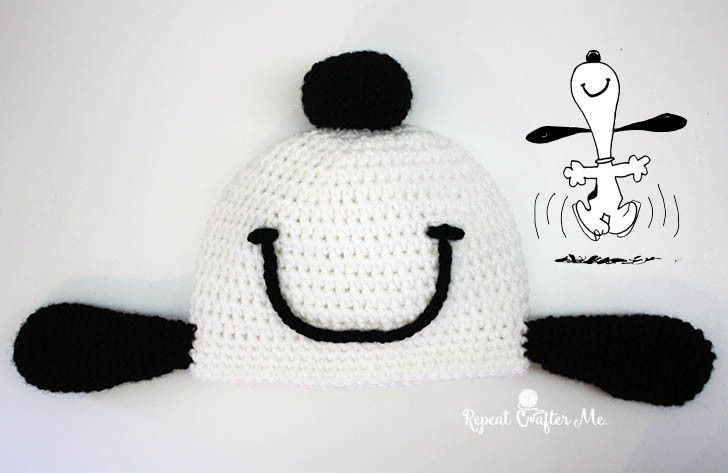 Crochet Snoopy Happy Dance Hat - Repeat Crafter Me | Crochet Hats ...